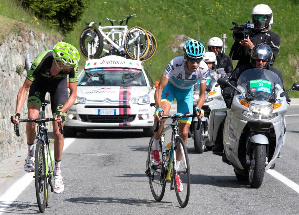 Hesjedal fue el último en ver la rueda de Aru, antes de su cabalgata final hasta Cervinia.