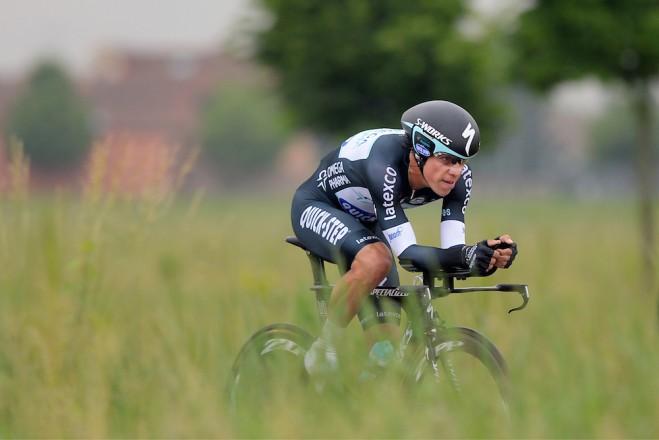Urán durante la etapa 12 del Giro 2014, en la que asumió el liderato.