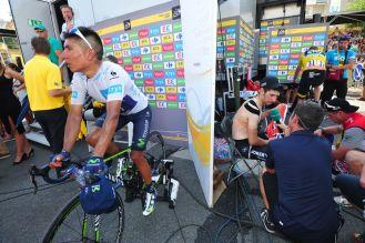 Nairo Quintana y Chris Froome luego de la etapa.