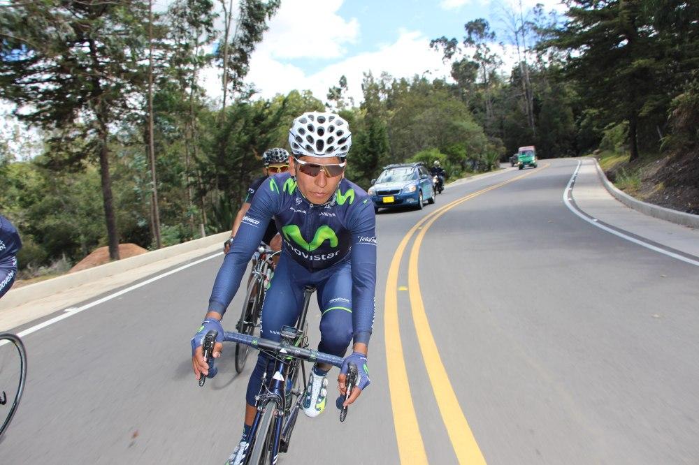 Quintana durante un entrenamiento en su natal Boyacá. (foto: Prensa Movistar.)