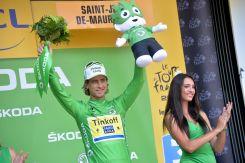 Peter Sagan no fue protagonista de la jornada, pero conserva la camisa verde.