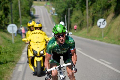 Thomas Voeckler que atacó en el kilómetro 150. Su ventaja no duró mucho tiempo.