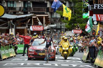 Simon Geschke celebró su estreno como vencedor de etapa en el Tour de France.