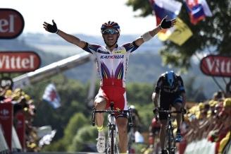 """Joaquim """"Purito"""" Rodríguez celebra su victoria en Huy."""