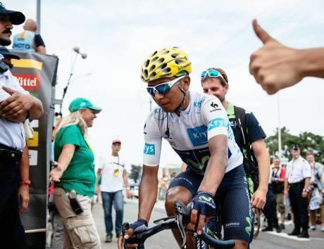 Nairo Quintana a su llegada a meta en Valence.