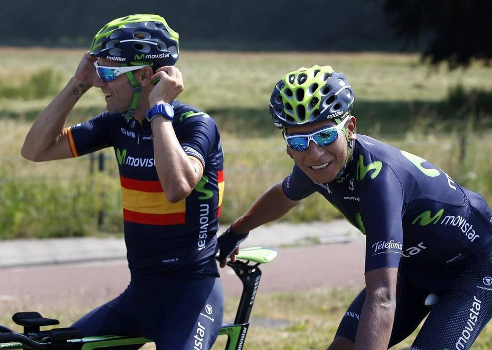 Alejandro Valverde junto a Nairo Quintana.