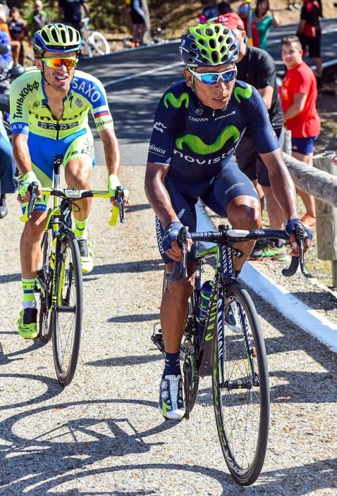 """Rafal Majka, ahora tercero en el podio de Madrid, no se desprendió de la rueda del """"Cóndor"""" Quintana, imposibilitando que el de Cómbita le quitara el honor de acompañar a Aru."""