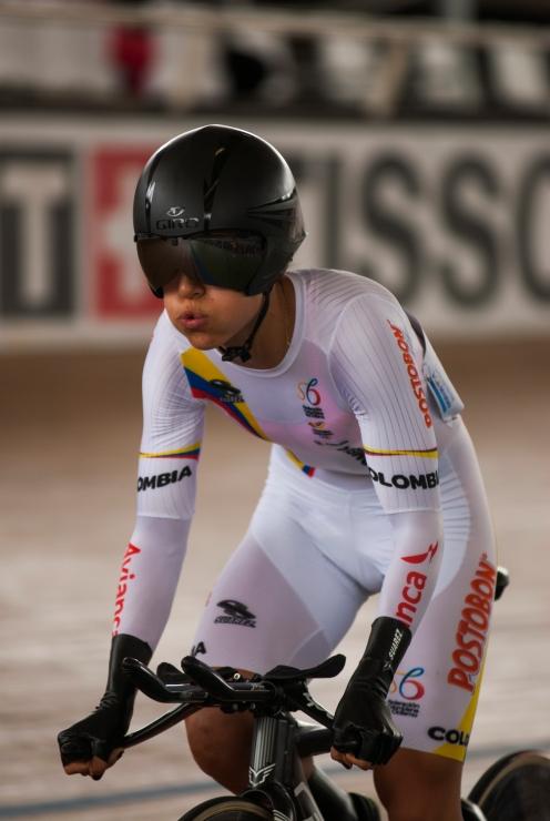 Milena Salcedo en la persecución individual del omnium. Día 2. Copa Mundo de Ciclismo de Pista. 2015 © LaCadenilla.com