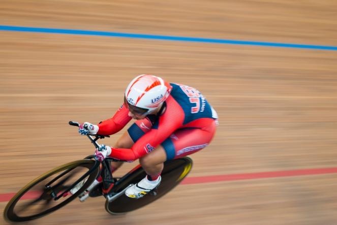 Sarah Hammer en la prueba de persecución individual, en el omnium femenino. Día 2. Copa Mundo de Ciclismo de Pista. 2015 © LaCadenilla.com