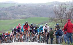 Spanish rider, Alejandro Valverde of Movistar Team, Italian rider Vincenzo Nibali and Swiss rider Fabian Cancellara of Trek Segafredo Team, on the way of the 2016 Strade Bianche from Siena's Fortezza Medicea to Siena's Piazza del Campo, Italy, 5 March 2016. Strade Bianche is a 176km road race containing seven sectors of white gravel roads. ANSA/CLAUDIO PERI