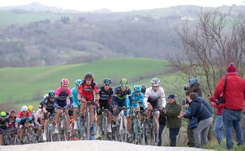 Spanish rider, Alejandro Valverde of Movistar Team, Italian rider Vincenzo Nibali and Swiss rider Fabian Cancellara of Trek Segafredo Team, on the way of the 2016 Strade Bianche from Siena's Fortezza Medicea to Siena's Piazza del Campo, Italy, 5 March 2016. Strade Bianche is a 176km road race containing seven sectors of white gravel roads. ANSA/CLAUDIO PERI