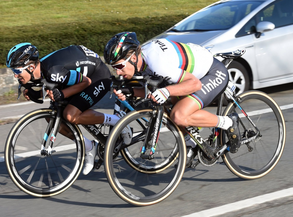 Kwiatkowski y Sagan son dos de los más hábiles sobre la bicicleta en todo el pelotón profesional. (Handout © Tinkoff Sport)