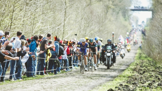 En el Bosque de Arenberg, Tony Martin, corriendo su primera Roubaix, seguía ayudando a Boonen en su cabalgata. © Handout Extixx Quick Step.