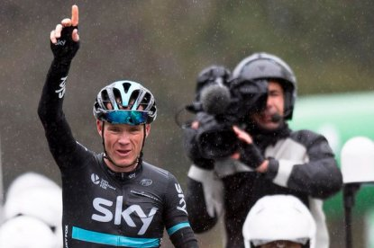 Chris Froome consiguió el triunfo parcial en solitario. © Handout Tour de Romandie