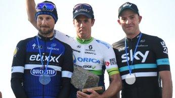 El podio. Boonen, Hayman y Stannard. © Handout Team Sky.