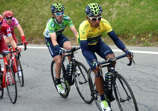 Izaguirre cayó en la etapa de cierre, y no pudo subir al podio a recibir la ovación por su tercer puesto © Handout Movistar Team