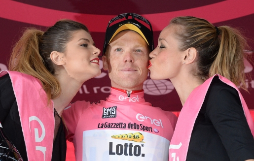 Dutch cyclist Steven Kruijswijk Lotto Jumbo team wears pink jersey celebrates on the podium after the fifteenth stage of the Giro d'Italia 2016, long individual time trial from Castelrotto to Alpe di Susi 10,8 km, Italy, 22 May 2016 ANSA/LUCA ZENNARO